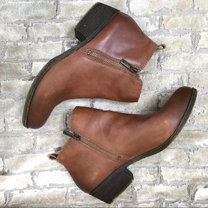 LUCKY BRAND Leather Ankle Boot Bootie Double Zips